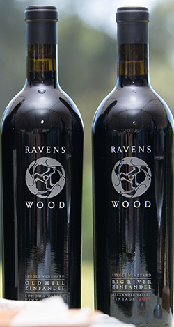Two bottles of Ravenswood Zinfandel wine